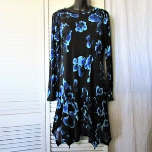 MICHAEL Micheal Kors black blue flowers dress M